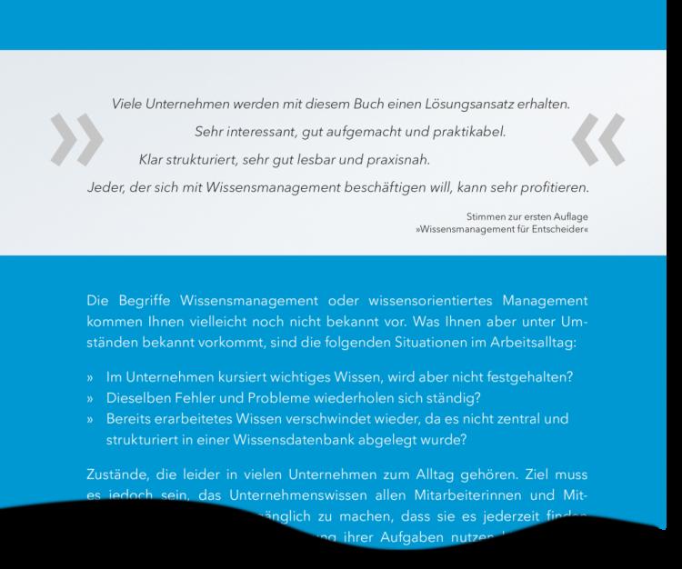 """Auszug Rückseite """"Unternehmensführung mit Wissensmanagement"""""""