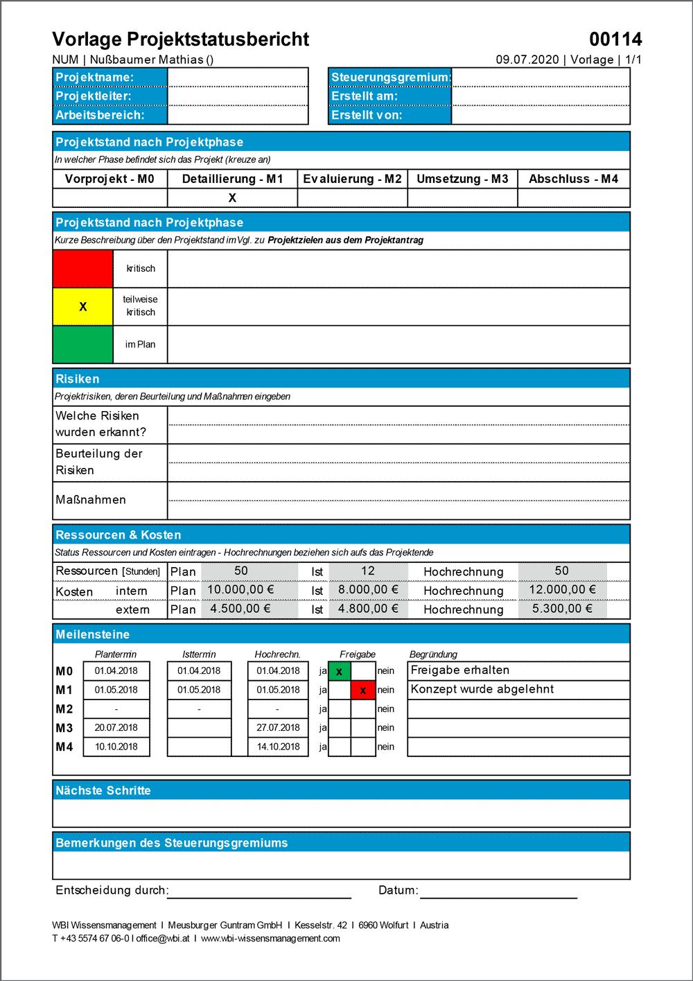 WBI-Vorlage-Projektstatusbericht