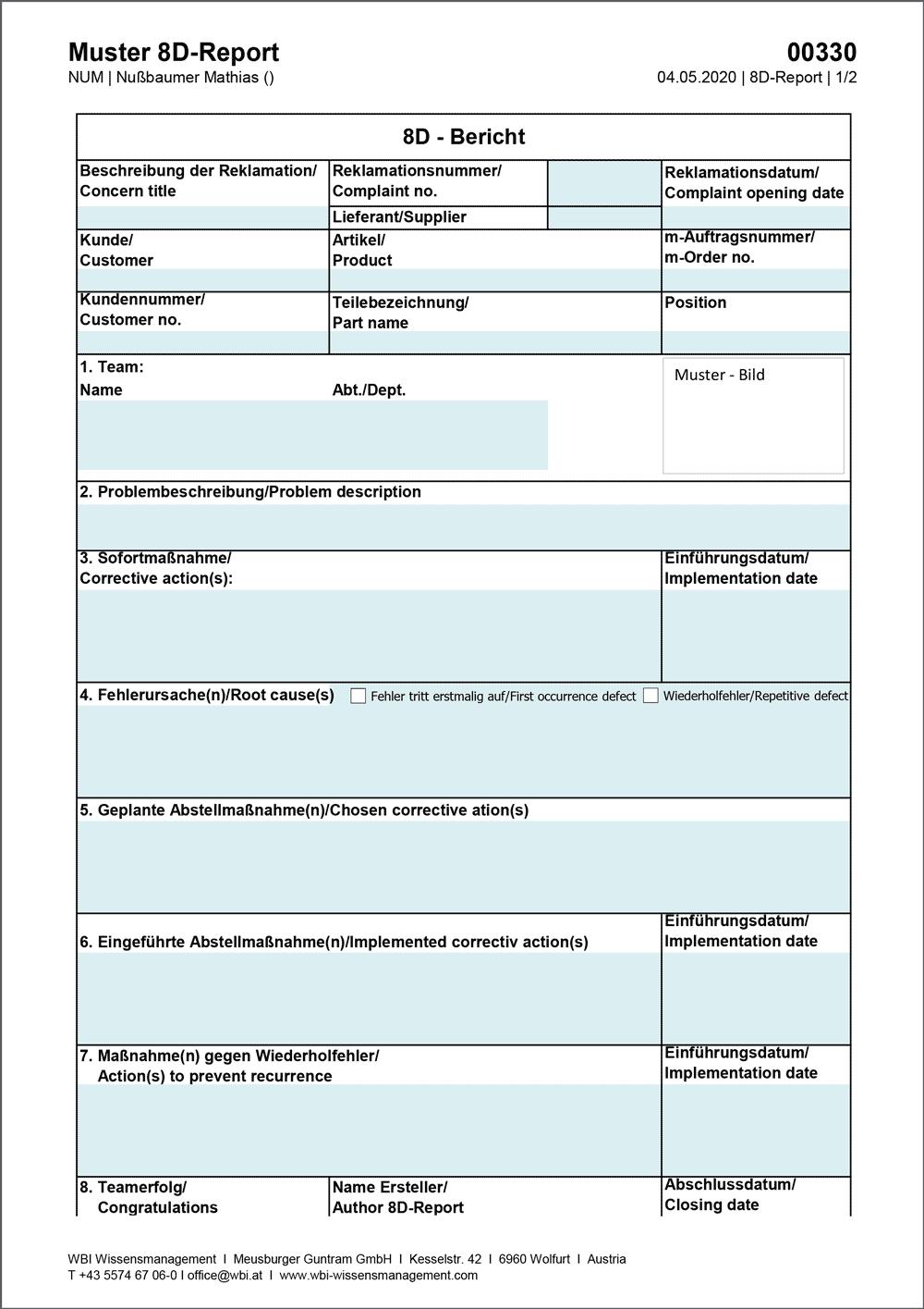 WBI-Muster-8D-Report