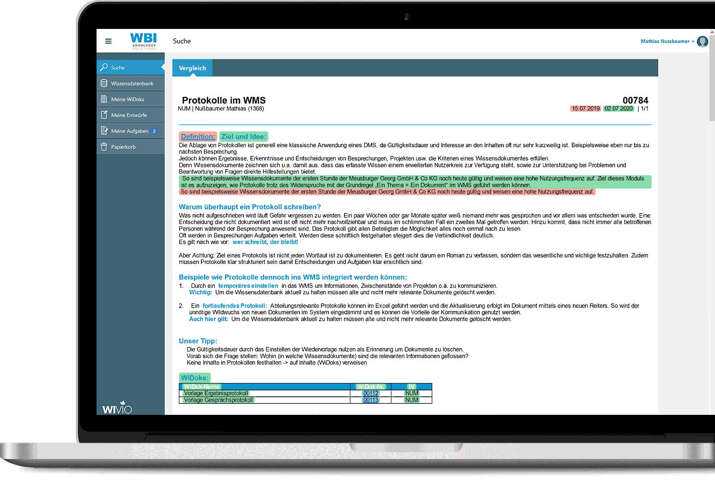 WIVIO: Versionsvergleich in der Historie