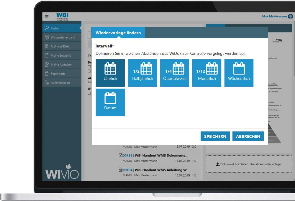 Wiedervorlage in WIVIO