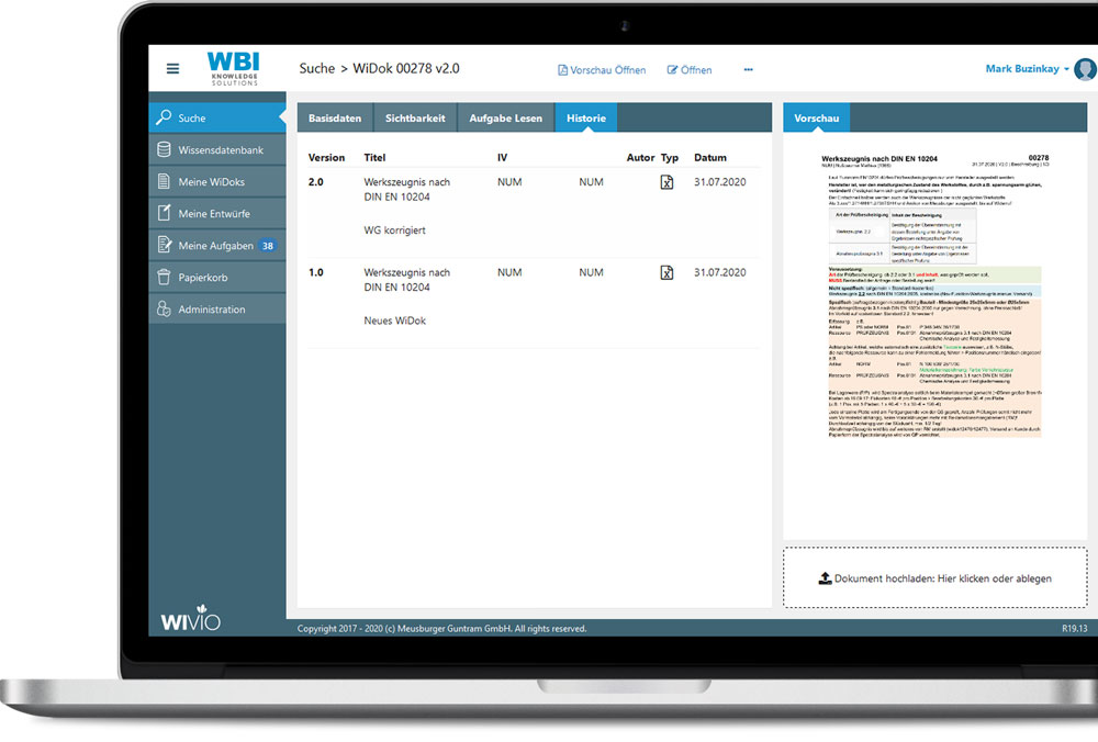 Vollständiger Versionsverlauf in WIVIO.
